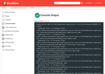 Screenshot jenkins-material-theme console